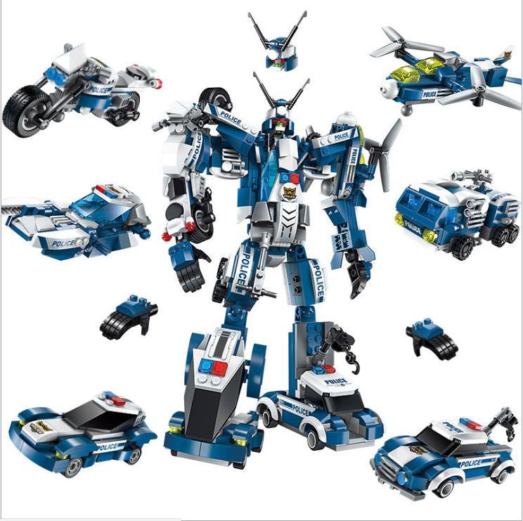 Hình ảnh Bộ đồ chơi lego xếp hình Robot biến hình Cảnh Sát - Được lắp từ 577 PCS 6 hộp - Mỗi hộp có thể lắp được 1 xe cảnh sát, máy bay - Đồ chơi thông minh cho trẻ