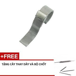 Dây Mesh Bạc Cao Cấp Cho Đồng Hồ - size 18mm + tặng kèm cây thay dây và bộ chốt thumbnail
