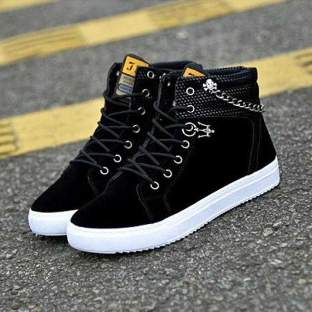 Giày nam cao cổ vải nhung mịn cao cấp gắn dây xích trẻ trung dáng Hàn Quốc giaynam - G09 giá rẻ