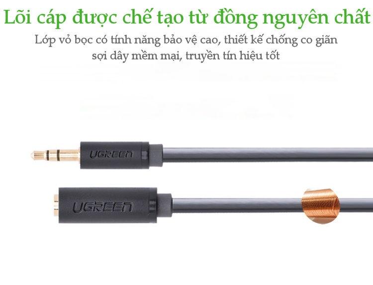 Cáp âm thanh kéo dài hai đầu chuẩn 3.5mm 1 đầu đực 1 đầu cái dài 0.5-1M UGREEN AV124 .
