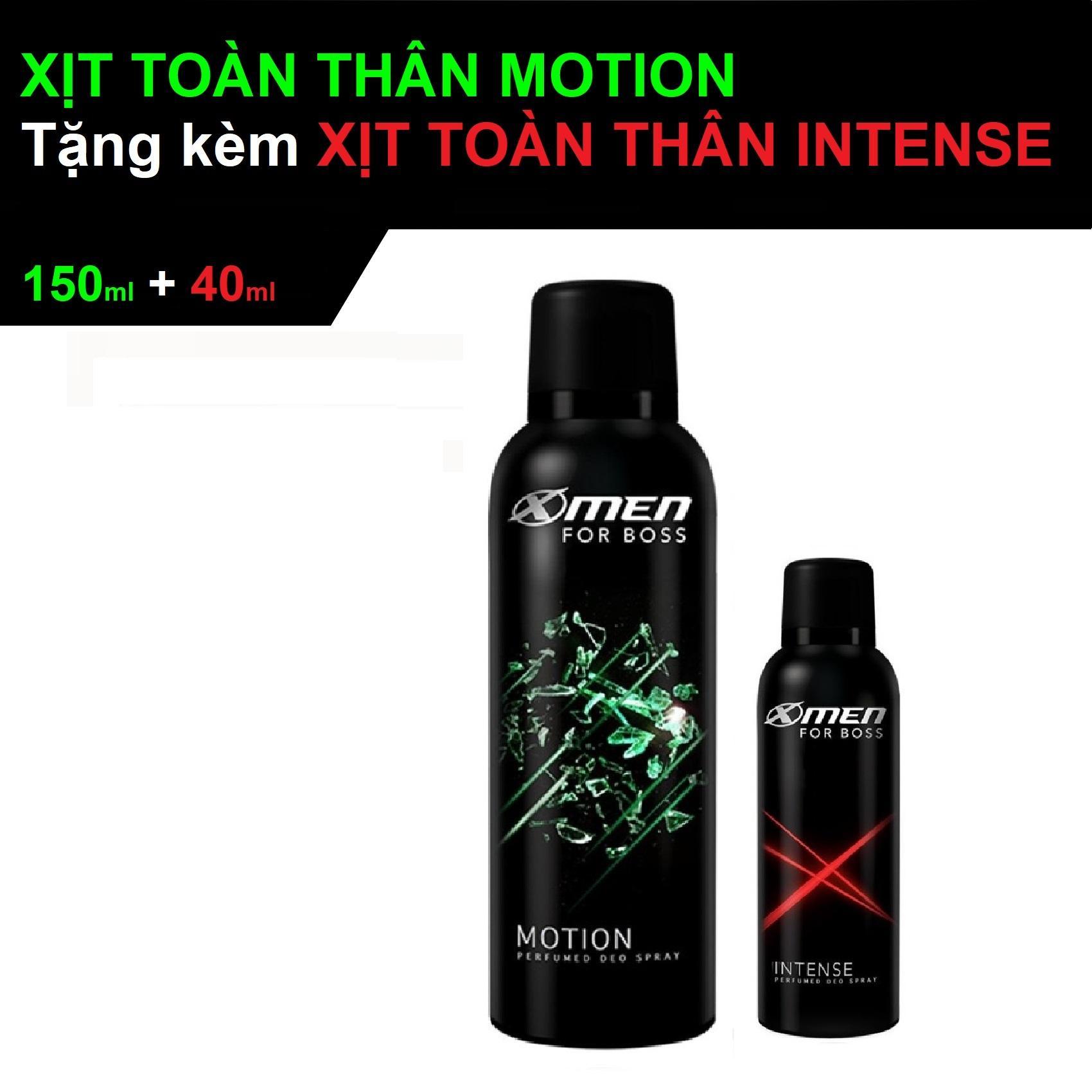Xịt nước hoa Pháp toàn thân body Xmen motion 150ml tặng kèm Xịt Xmen intense 40ml