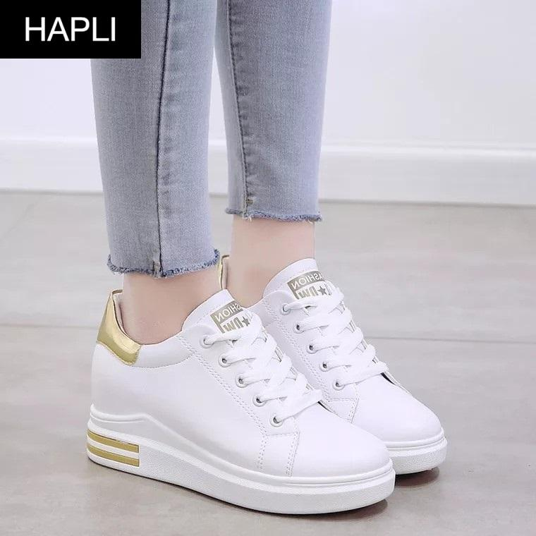 Giày sneaker nữ độn đế đẹp gót da bóng HAPLI (Trắng đỏ, Trắng vàng, Trắng đen) Nhật Bản