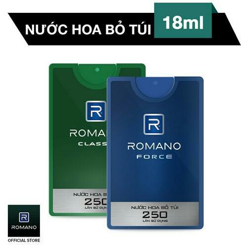Combo 2 Nước Hoa BỎ TÚI cao cấp Romano 18ml 250 lần xịt (18ml/chai x 2 chai) hương classic hoặc force