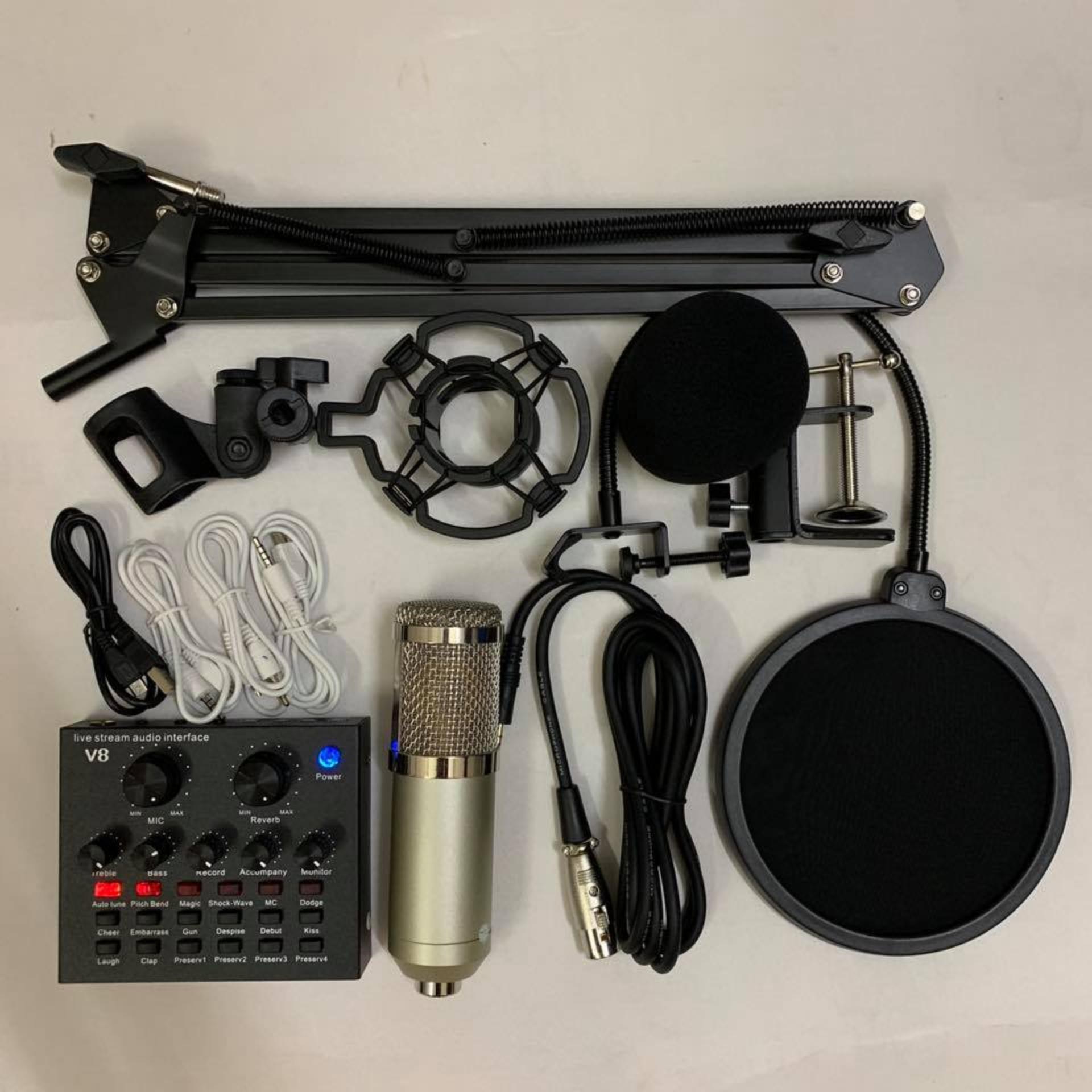 Hình ảnh Combo bộ mic thu âm livestream karaoke bm800 V8 chân kẹp màng lọc