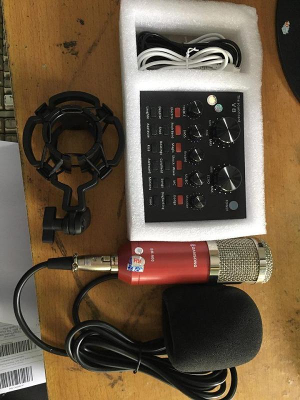 Bảng giá tron bo live stream sound card v8 + micro KM900 cực hay Phong Vũ
