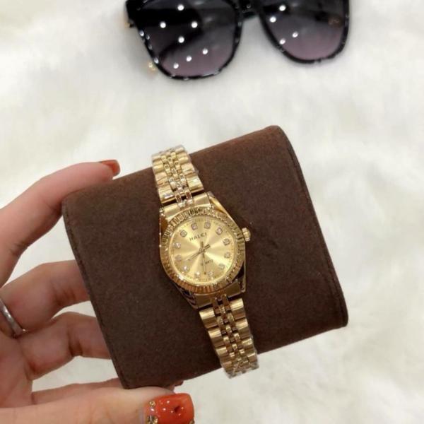 Đồng hồ nữ mạ vàng cao cấp Halei dây vàng mặt vàng viền băm