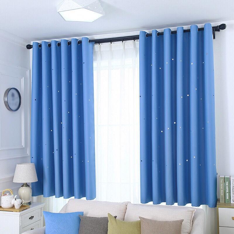 Rèm cửa trang trí - rèm vải cao cấp - Họa Tiết Ngôi Sao Xinh HYJ01