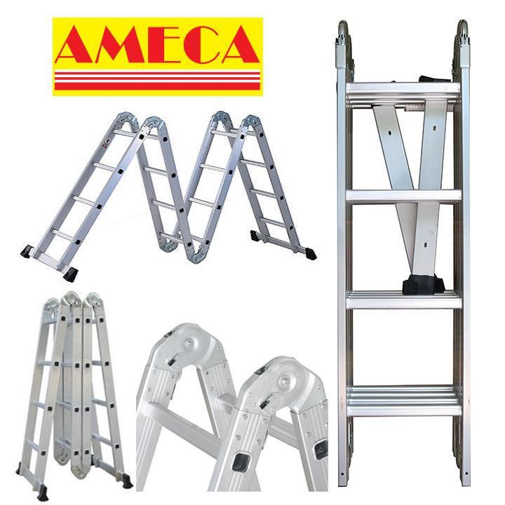Thang nhôm gấp 4 đoạn Ameca AMCM204 - 4.7m