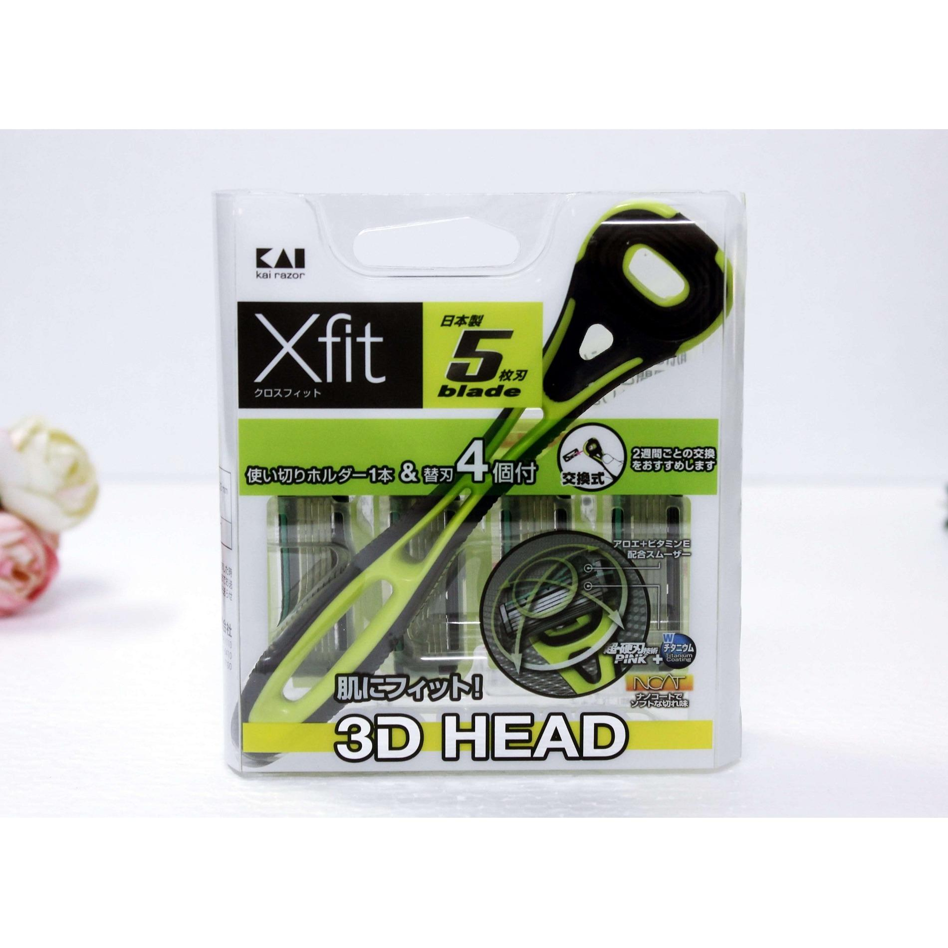 Bộ Dao cạo râu 5 lưỡi kép Xfit KAI (1 thân, 4 lưỡi thay thế) hàng Nhật Bản