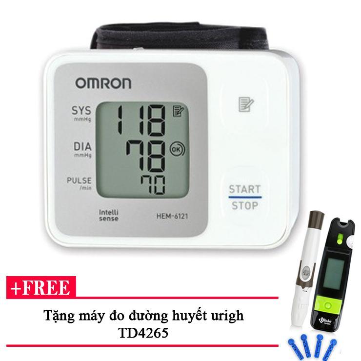 Máy đo huyết áp cổ tay OMRON HEM 6121 + Tặng máy đo đường huyết Uright TD4265 bán chạy