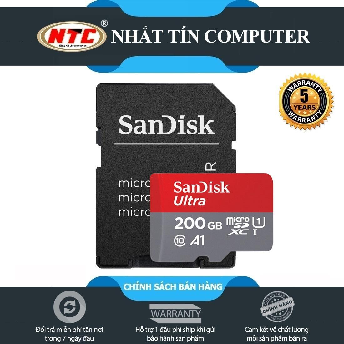 Thẻ nhớ MicroSDXC SanDisk Ultra A1 200GB Class 10 U1 100MB/s kèm adapter - Model 2018 (Xám đỏ)