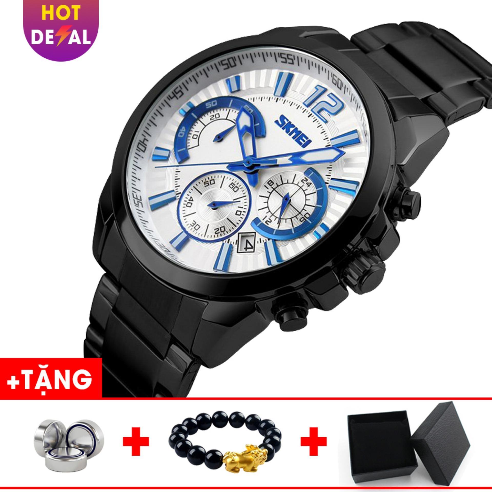 Đồng hồ nam dây thép không gỉ chạy 6 kim SKMEI SK004 - Boss Watches bán chạy