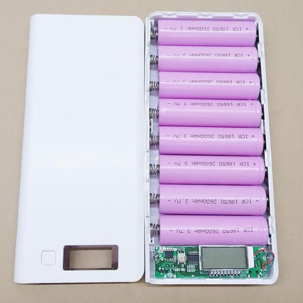 Hộp đựng pin 8 cell có màn lCD và 2 đèn led - mẫu mới 2020 box sạc dự phòng mạch sạc pin 18650 mạch sạc dự phòng box sạc nhanh 2A pin sạc 18650