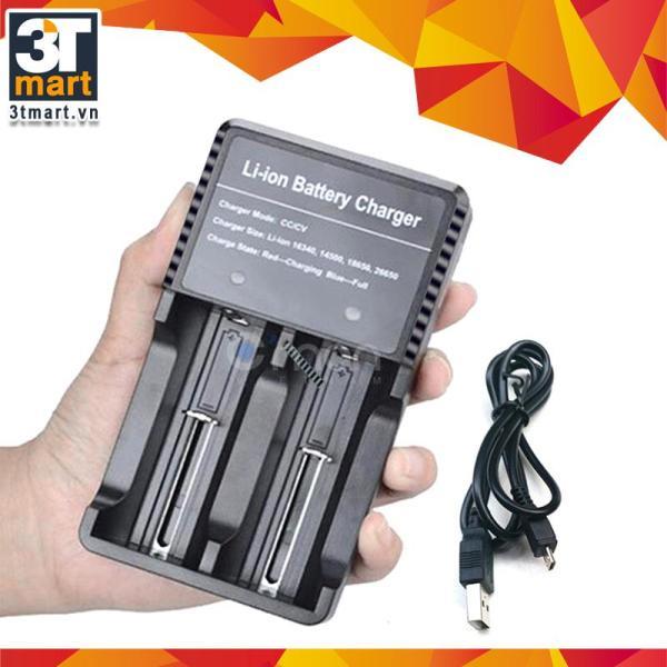 Bộ sạc đôi cáp USB nhanh (1A) và an toàn đa năng dùng cho các loại pin li-ion 18650 16340 14500