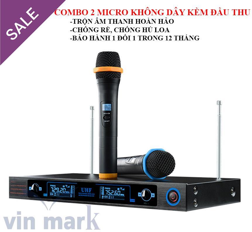 micro khong day shure, Combo 2 micro không dây và đầu thu UHF 2 dâu UK-20, tích hợp mail trộn âm KOREA - đường truyền ổn định Âm thanh sống động, chân thực - Bảo hành và phân phối trên toàn quốc