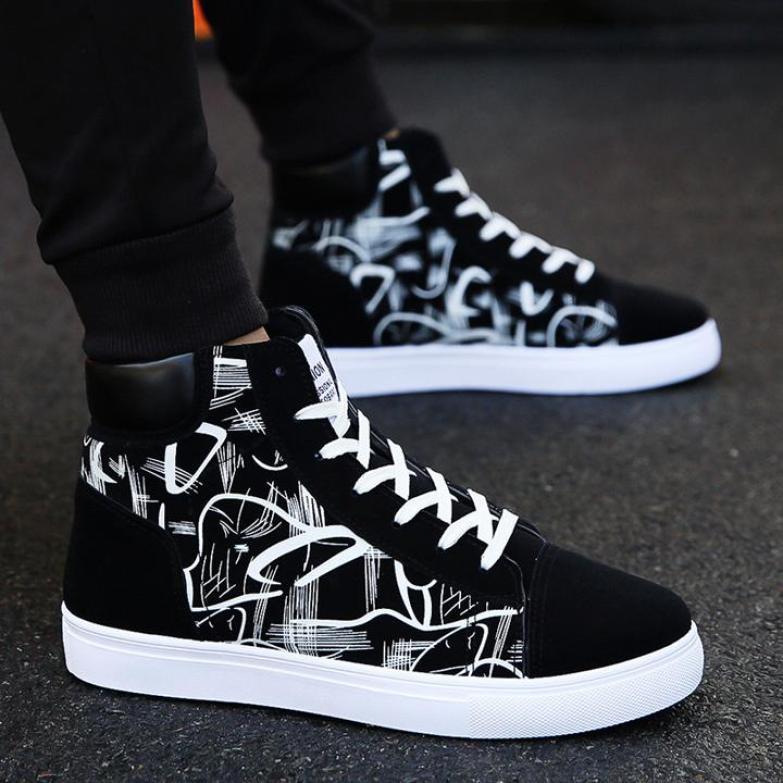 Giày nam cao cổ họa tiết thời trang giaynam-SH311 giá rẻ