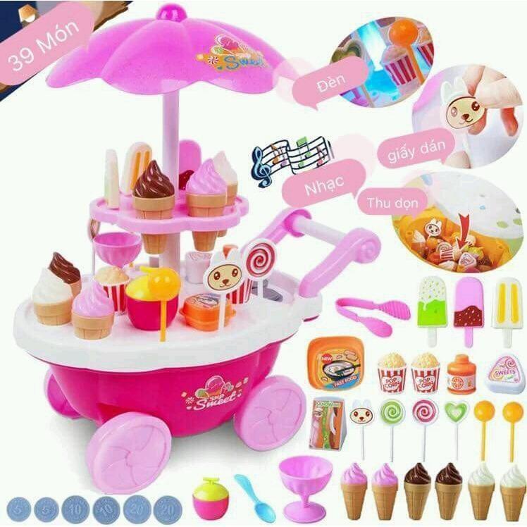 Hình ảnh Bộ đồ chơi XE ĐẨY BÁN KEM có phát nhạc Cho các bé gái vui chơi nhập vai