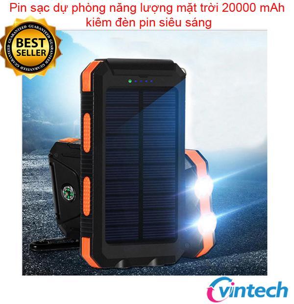 Hình ảnh Pin sạc dự phòng năng lượng mặt trời 20000 mAh kiêm đèn pin siêu sáng