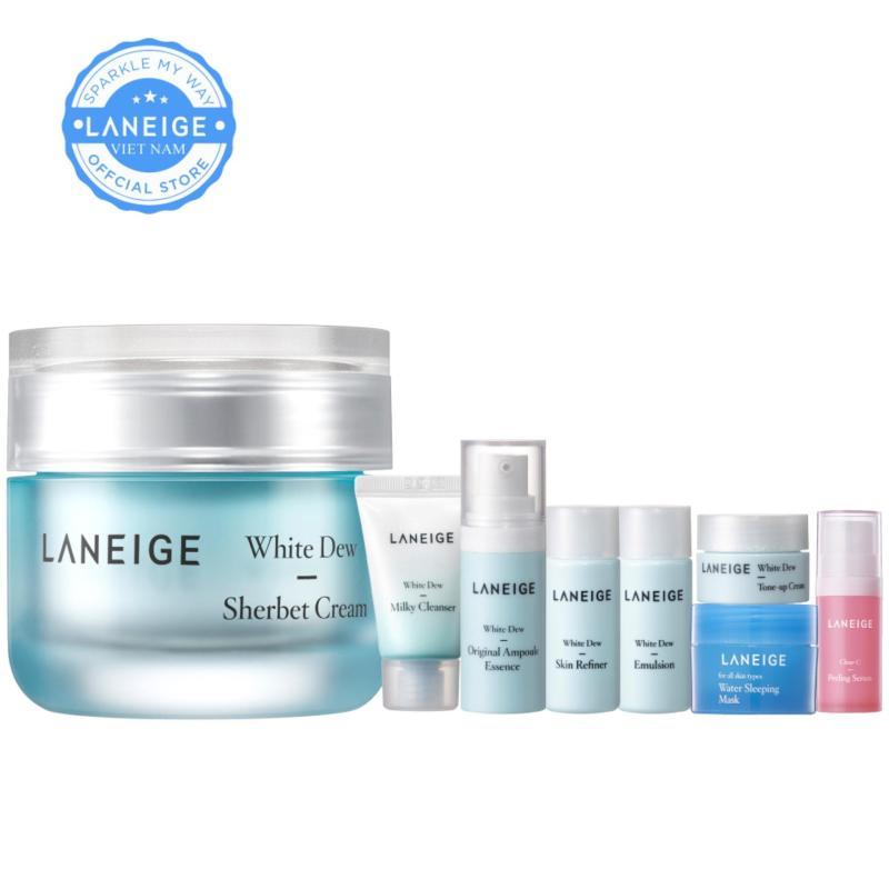 Kem dưỡng trắng và dưỡng ẩm Laneige White Dew Sherbet Cream 50ml + Tặng bộ dưỡng ẩm và dưỡng trắng da cao cấp