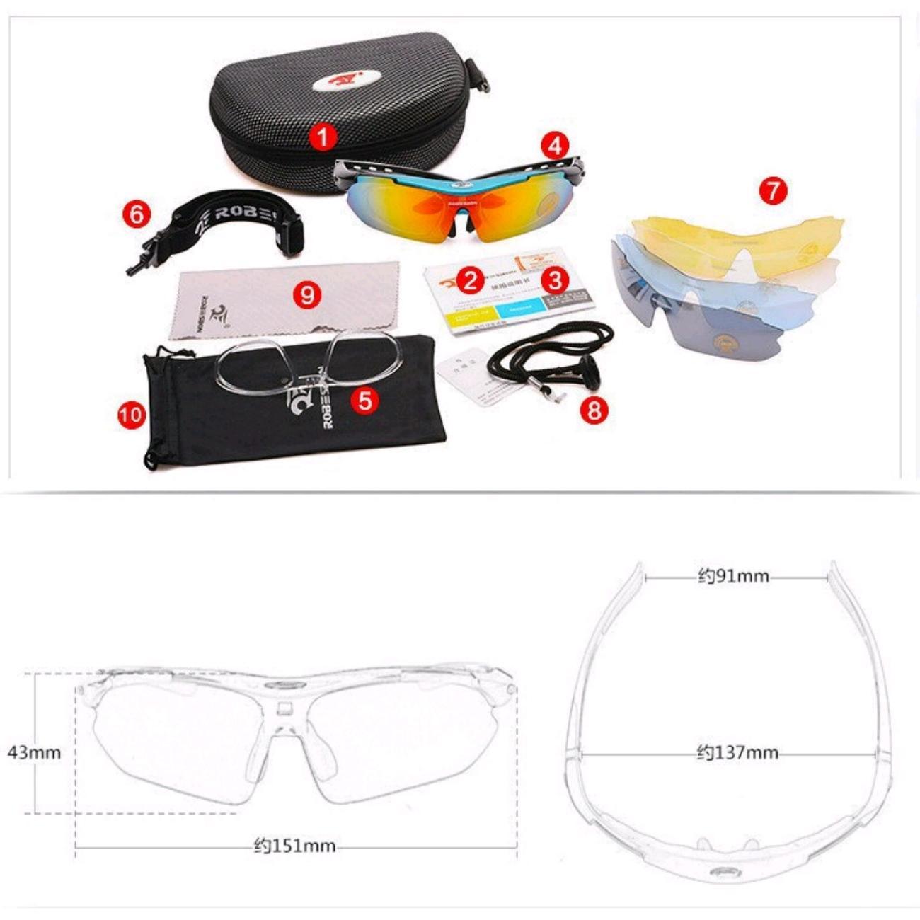 Bộ 1 kính mát thể thao 5 tròng kèm gọng lắp mắt kính cận