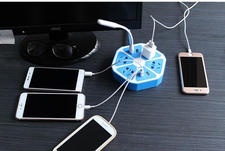 Ổ cắm điện hình trái cam kiêm sạc điện thoại (5 ổ cắm và 2 cổng USB)