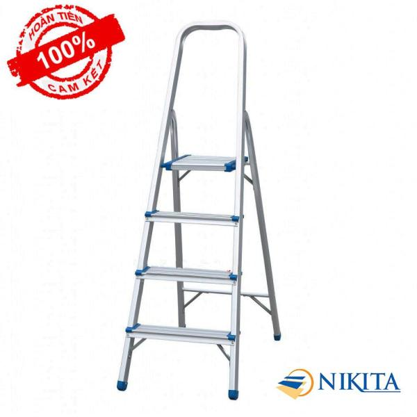 Thang nhôm tay vịn 4 bậc Nikita AL04 Công nghệ: Nhật Bản Chiều cao bậc trên cùng: 0.8m Kích thước thu gọn: 1.32mx0.42mx0.06m Tiêu chuẩn: Châu ÂU EN131 Số bậc: 4 bậc
