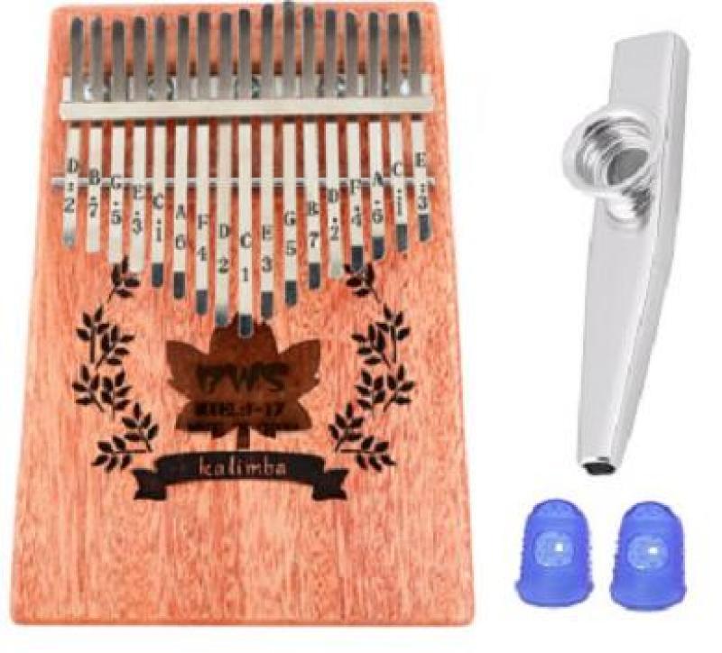 Đàn Kalimba 17 Phím BWS thông (Solid Mbira Thumb Finger Piano 17 Keys - Kèm túi, hướng dẫn, búa lên dây, dán nốt - Cho trẻ cảm thụ Âm Nhạc và người mới chơi Nhạc Cụ) Kèm kèn Kazoo + Bọc ngón tay