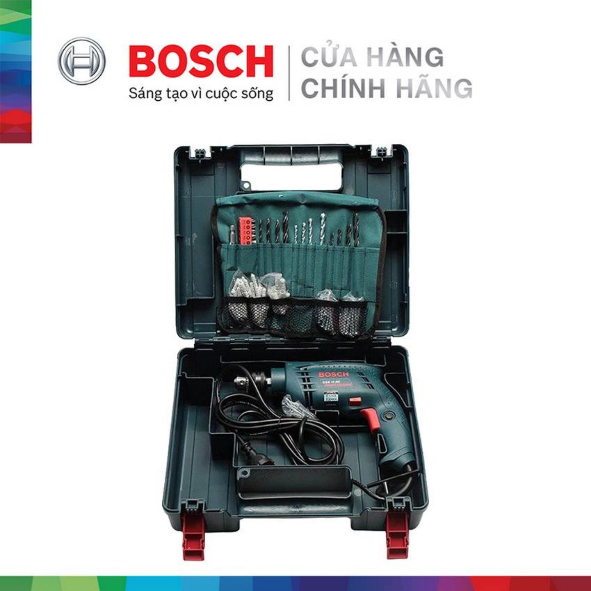 Máy khoan động lực Bosch GSB 10 RE + 100 chi tiết (Xanh)