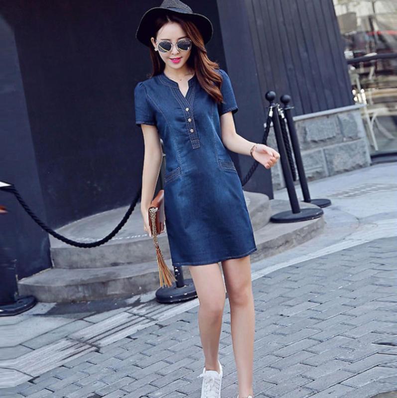 Đầm jean cổ v nẹp viền phối túi có size XXL