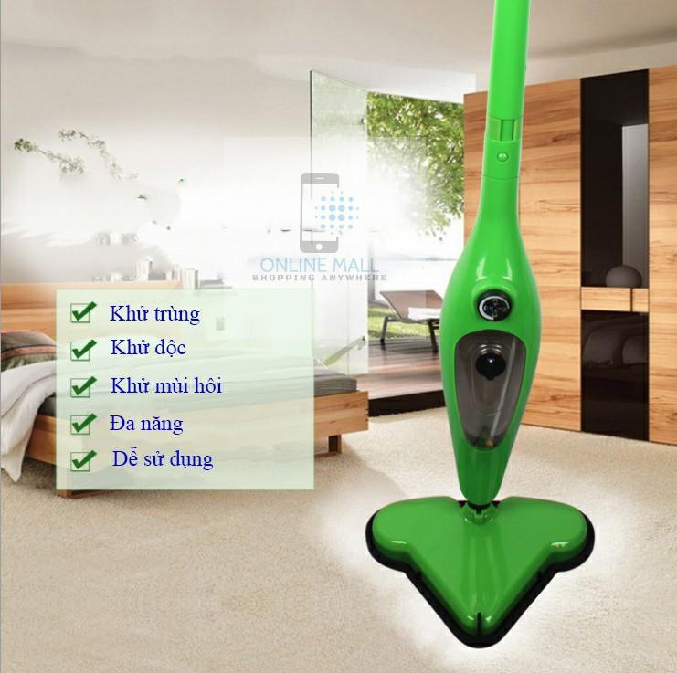 Máy Lau Nhà Hơi Nước Online Mall H20 X12 Model 2019 (xanh Lá) By Online Mall.