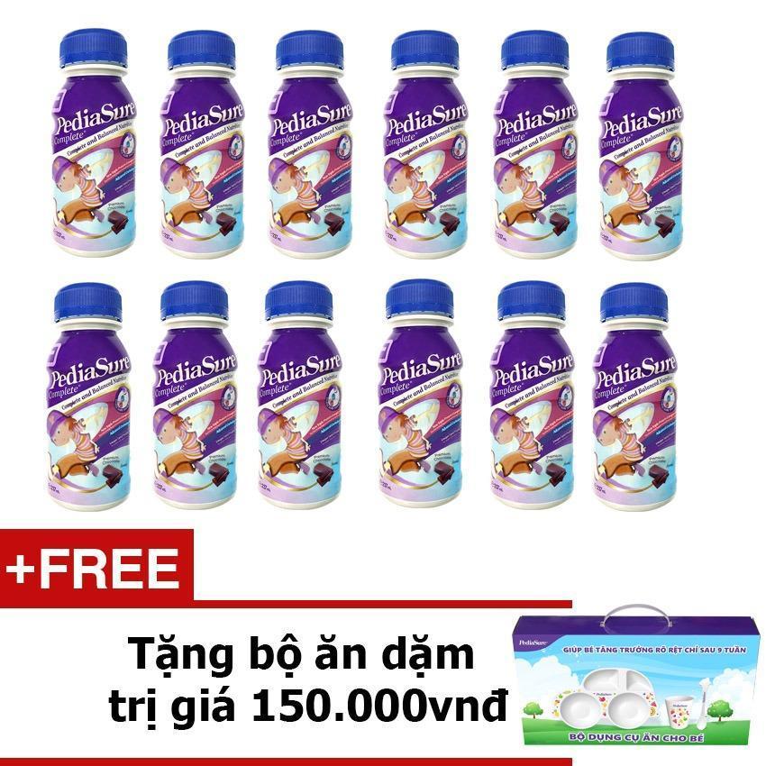 Bộ 12 chai sữa nước Pediasure Chocolate + Tặng bộ ăn dặm trị giá 150,000vnđ
