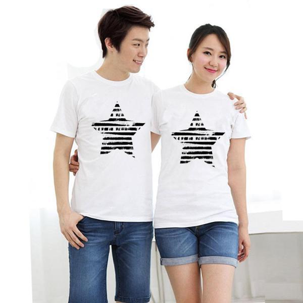 Áo thun cặp đôi in hình ngôi sao form rộng phong cách hàn quốc