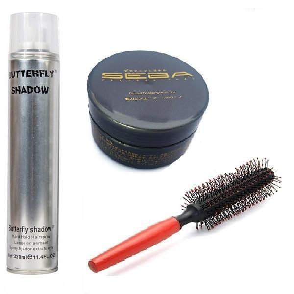 Combo x3 gồm sáp Seba và gôm Butterfly (320ml) và Lược tròn tạo kiểu tóc
