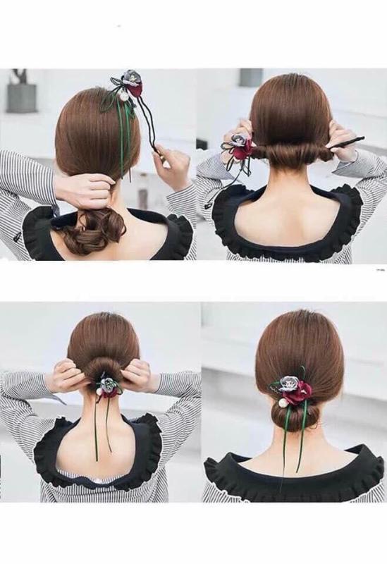 Thanh búi tóc kèm nơ hoa độc đáo mẫu mới nhất tốt nhất