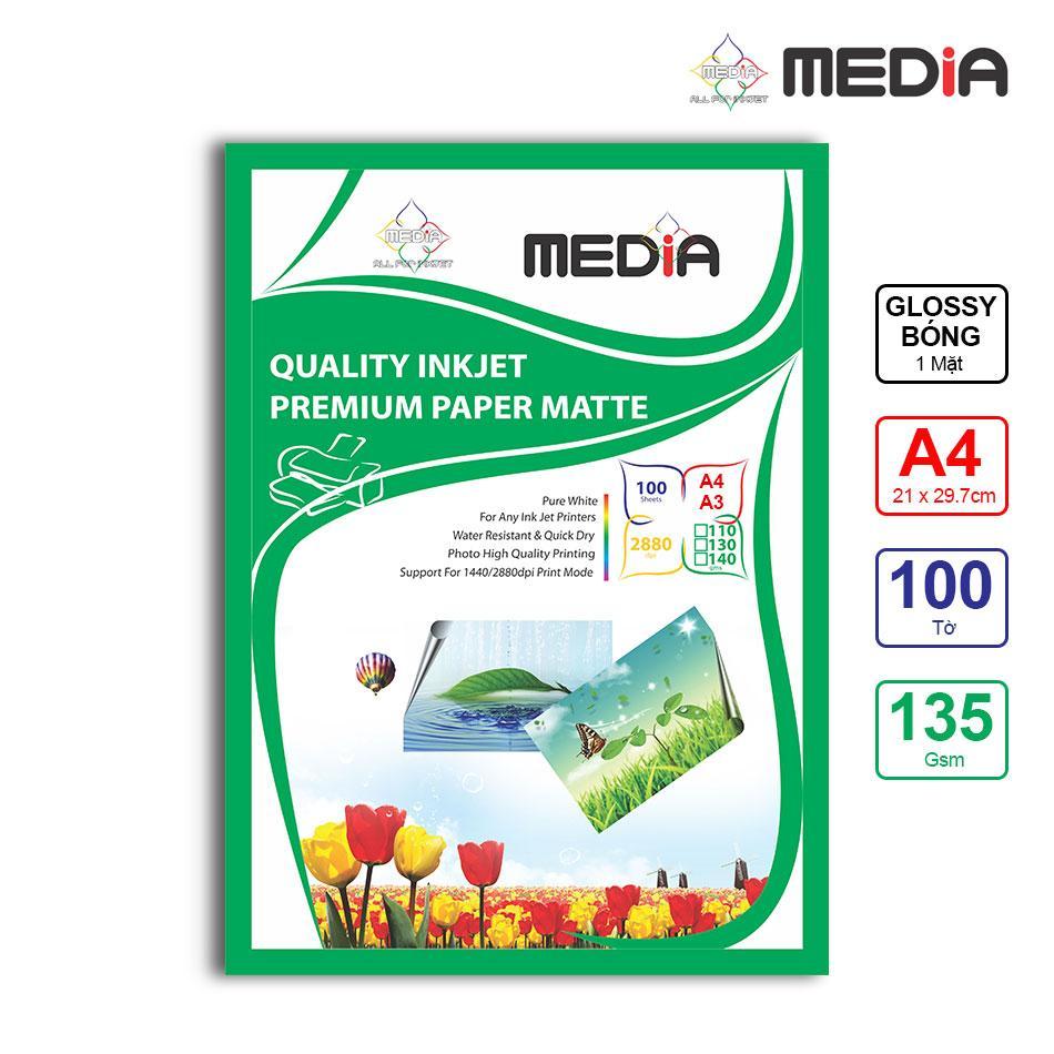 Giấy In Ảnh Media 1 Mặt Bóng (Glossy) A4 (21 x 29.7cm) 135gsm 100 Tờ Nhật Bản