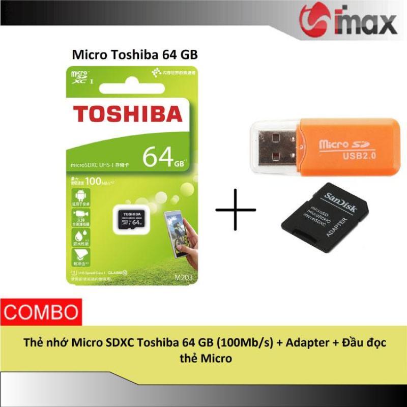 Thẻ nhớ Micro SDXC Toshiba 64 GB (100Mb/s) + Adapter + Đầu đọc thẻ Micro