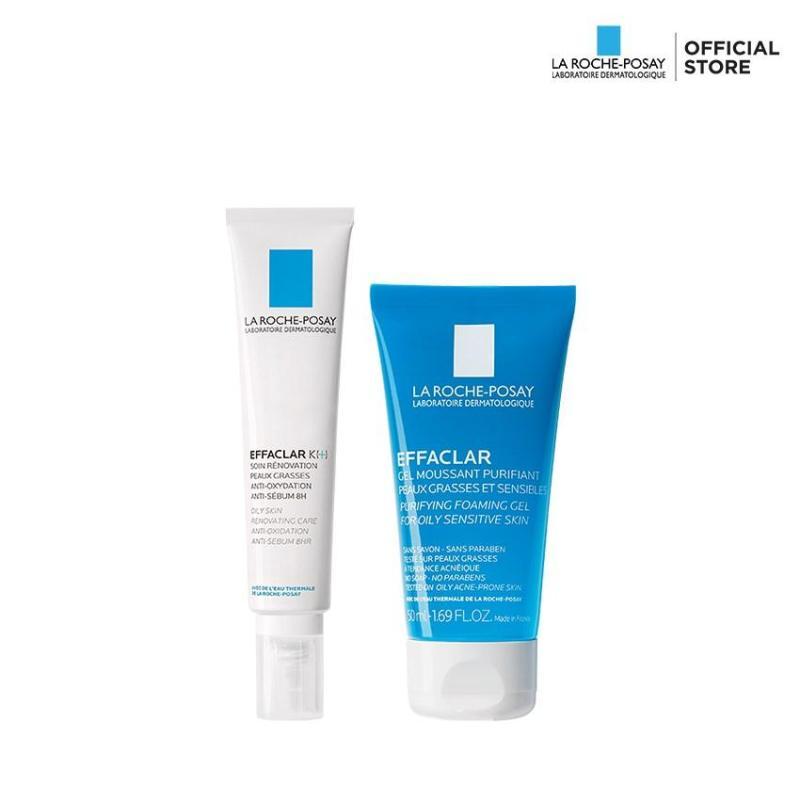 Bộ đôi Kem dưỡng giúp giảm mụn đầu đen, cải thiện bề mặt da La Roche-Posay Effaclar K+ và Gel rửa mặt dành cho da dầu mụn Effaclar gel 50ml nhập khẩu