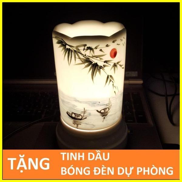 Đèn xông tinh dầu sứ Bát Tràng hình Ống TẶNG Tinh dầu + Bóng đèn cỡ TO 9 x 16,5cm / Đuổi muỗi Diệt muỗi Đèn trang trí SS22