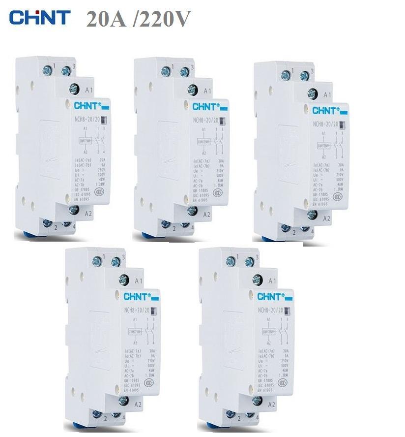 Bộ 5 khởi động từ, contactor CHINT NCH8 20A (Trắng)