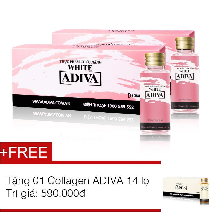 Bộ 2 dưỡng chất uống làm trắng da ADIVA White 14 chai x 30ml + Tặng 1 hộp dưỡng chất uống làm đẹp Collagen ADIVA 14 chai x 30ml