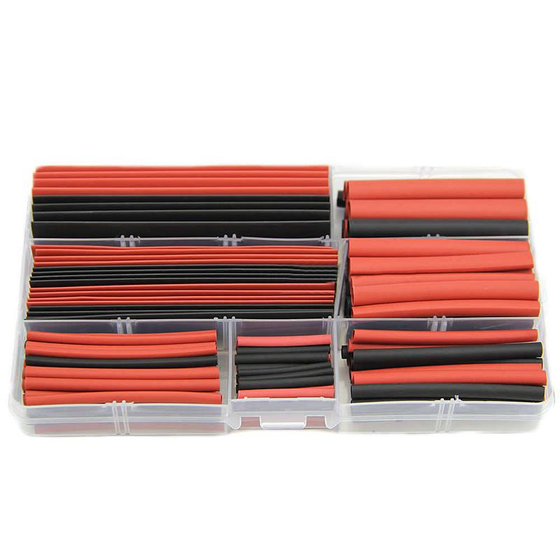 150pcs Assorted Heat Shrink Tubing Tube Set Polyolefin 2:1 Sleeving Wrap Wire Kit + Case Black Red