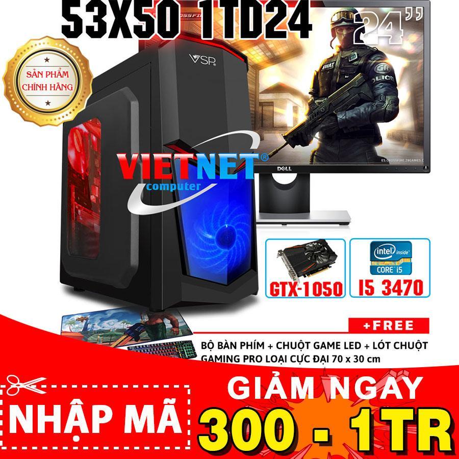 Hình ảnh Máy tính chuyên game VNgame 53X50 1TD24 i5 3470 card GTX 1050 RAM 8GB 1TB + Dell 24in (VietNet)