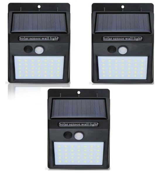 Bộ 3 đèn năng lượng mặt trời Solar 35 LED 3 chế độ sáng (Đen)