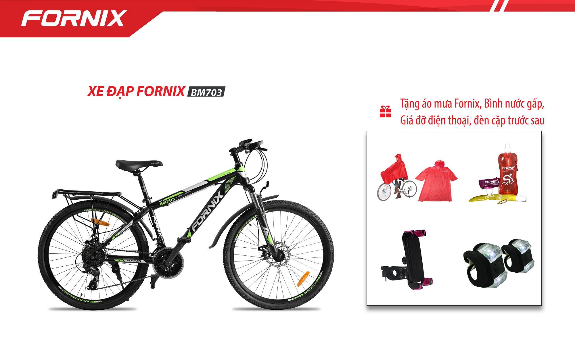 Xe đạp địa hình hiệu FORNIX BM703 + 4 quà tặng (áo mưa fornix-bình nước gấp-giá đỡ điện thoại-đèn cặp trước sau)