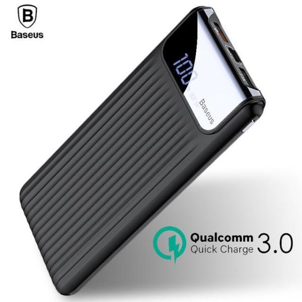 Pin dự phòng thương hiệu Baseus cao cấp dung lượng 10000mAh công nghệ sạc nhanh Qualcomm QC 3.0 thiết kế đẹp độc đáo có màn hình LCD báo dung lượng Pin