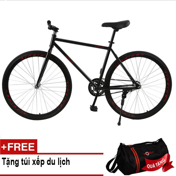 Kachi - Xe đạp Fixed Gear Air Bike MK78 (đen) + Tặng túi xếp du lịch