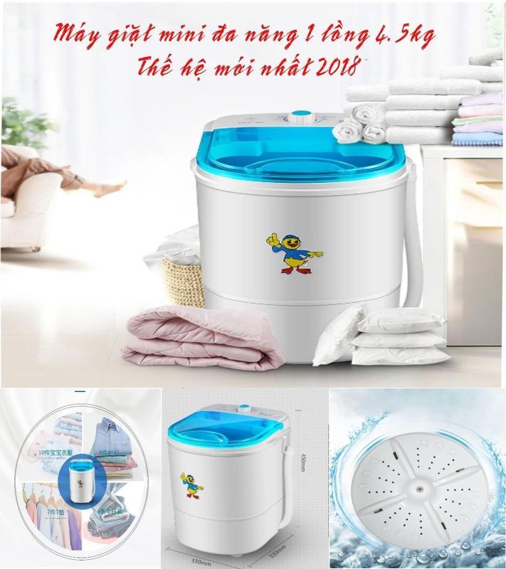 Máy giặt mini đa năng 1 lồng 4.5Kg chuyên dụng gia đình nhỏ, sinh viên 2018
