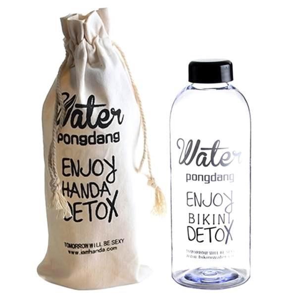 Bình nước Detox Water Pongdang dung tích 1000 ml ( màu trong suốt ) - Kèm 1 Túi Vải