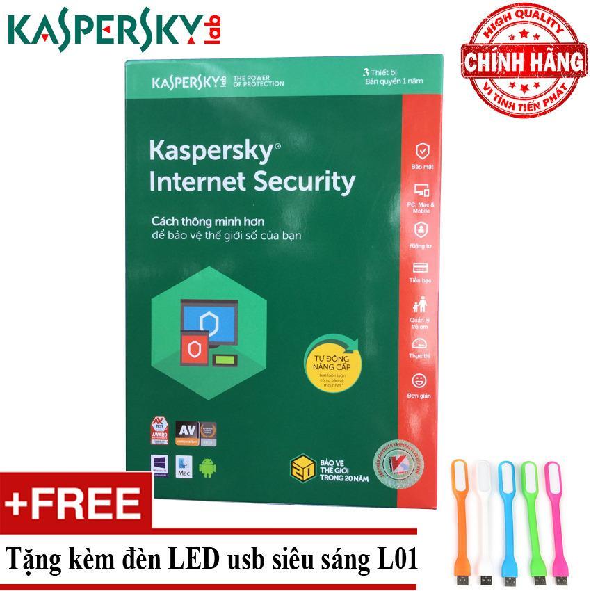 Hình ảnh Phần mềm diệt virus Kaspersky Internet Security 2018 3PC + Tặng đèn LED usb mã L01