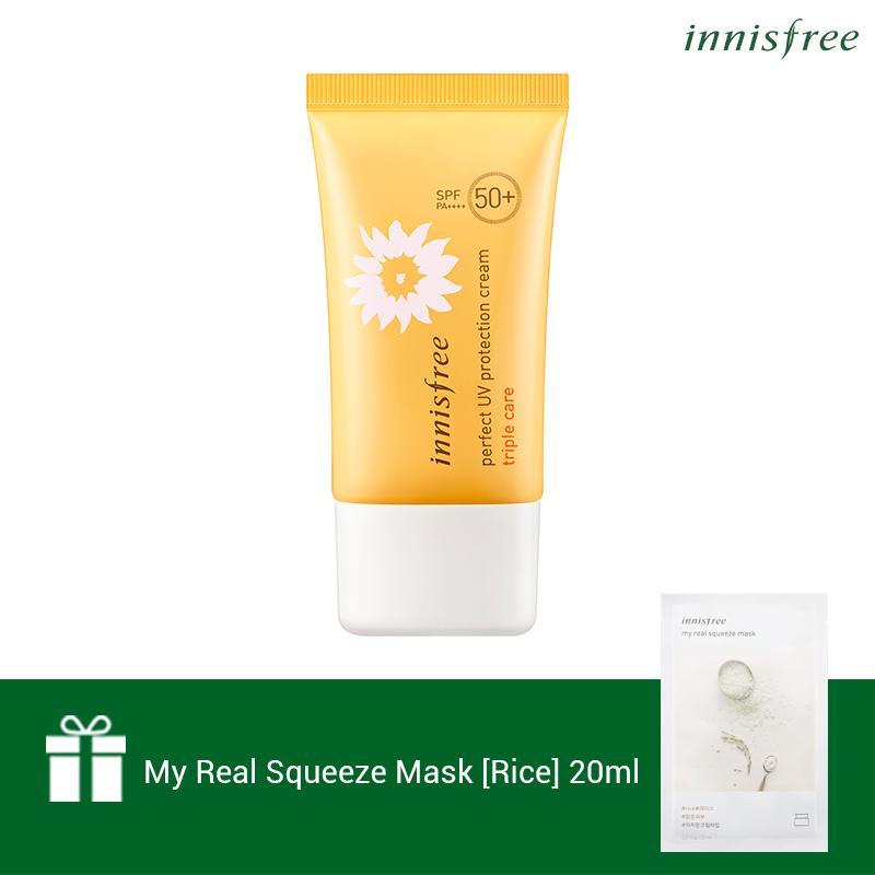 Hình ảnh Kem chống nắng toàn diện đa chức năng Innisfree Perfect UV Protection Cream Triple Care SPF50+/PA++++ 50ml (NEW) + Tặng 1 Mặt nạ gạo Innisfree My Real Squeeze Mask-Rice 20ml